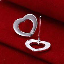 Silver Plated Pair of Hollow Heart Stud Earrings.Womens 925 Sterling 11mm x 11mm