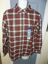 Basic Editions Red Black Plaid Flannel Long Sleeve Button Down Shirt Size M NEW