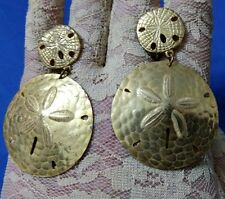 "Vintage Miriam Haskell gold tone sanddollar 2"" dangling clip screw back earrings"