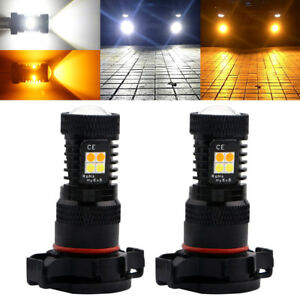 2Pcs White Amber H16 5202 LED Fog Driving Daytime Running Light DRL Lamp Bulbs