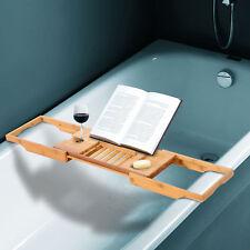 HOMCOM Bathtub Shelf Rack Adjustable Luxury Caddy Bath Tidy Natural Tray