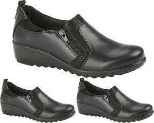 Womens Cushioned Hospital Nurse Shoes Zip Fastening Low Wedge Walking Work Shoes