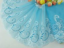 "6""*1yard delicate Blue embroidered flower  tulle lace trim DIY 0357"
