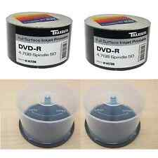 BUNDLE: 1 x 100 PACK TRAXDATA PRINTABLE 8X DVD-R AND 2 x 50 DISC SPINDLE TUBS