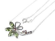 MOLDAVITE FACETED + GARNET  SILVER.925 necklace FLOWER - 6.49g - AGPEND1455