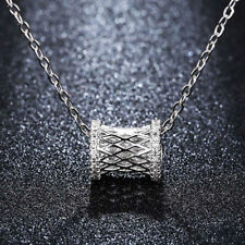 Elegant 18K White Gold Plated Hollow Tube Crystal Pendant Necklace NF189