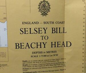 ADMIRALTY  SEA  CHART. SELSEY BILL to BEACHY HEAD.No.1652.ENGLAND S. COAST.1974.