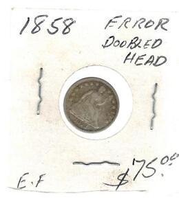 1858  USA Half Dime 5 cent Silver coin Error Double HEaded