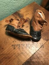 Two Tone Brown Hi Top Button Leather Antique Doll Shoes