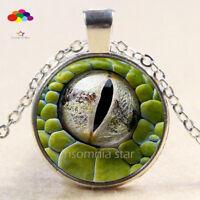 Vintage Cabochon Tibetan Silver Glass lizard eye Chain Pendant Necklace zqd107