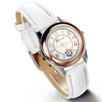 Fashion Round Dial Leather Band Quartz Analog Casual Wrist Watch Watches Women's