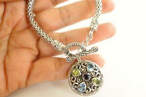 Blue Topaz Amethyst Peridot Balinese Dangle Drop 925 Sterling Silver Bracelet