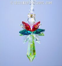 m/w Swarovski Big 2014 Peridot Christmas Angel Suncatcher Lilli Heart Designs