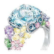 Fashion Women 925 Silver Aquamarine Cocktail Flower Ring Wedding Jewelry Sz5-10