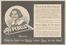 Y4215 Zahnpasta PEBECO - Pubblicità d'epoca - 1925 Old advertising