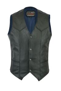 New Fashion Motorcycle Motorbike Cowhide Punk Leather Rider Waistcoat Vest M201A