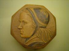 German Black Forest Signed Carved Wood Girl Face Portrait Trinket Box free ship