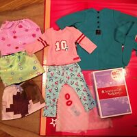 "Lot of 18"" American Girl Doll Clothes Pajamas Outfit Skirt Night Gown Dress Belt"