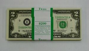 Original BEP Pack of 100 Notes - 2003 A $2 Federal Reserve Notes ($200 Face)