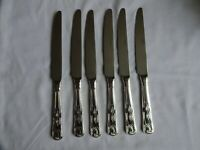 Vintage Silver Plated Kings Pattern Dinner Knives x 6 Viners Sheffield  24.5 cm