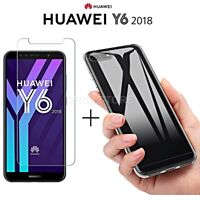 COVER per Huawei Y6 2018 CUSTODIA in TPU + PELLICOLA VETRO TEMPERATO