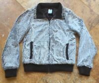 Patagonia Microfiber Faux Fur Zip Up Jacket, Brown, Gray, S