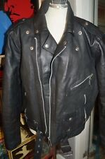 VINTAGE LONDON BLACK LEATHER MOTORBIKE JACKET BRANDO SIZE 44 FAB