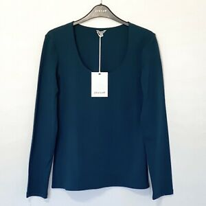 Jigsaw Double Front Scoop Jersey Top, Petrol Blue / Green Size M (UK 12) RRP £37