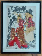 More details for original meiji period 19th. century japanese woodblock print. framed.figurative.