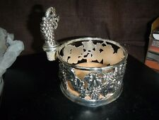 Silver Plated Grape Design Bottle Coaster w/ Stopper, Paul Revere Silversmiths
