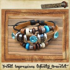 TRIBAL IMPRESSIONS ~HANDCRAFTED LEATHER & TURQUOISE MULTI-BEAD INFINITY BRACELET