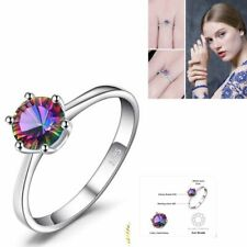 925 Sterling Silver Natural Mystic Fire Rainbow Topaz Ring s Solid Fine Palace