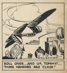 HAL FORREST Original TAILSPIN TOMMY Daily Comic Strip ART, Flying Action, 1939