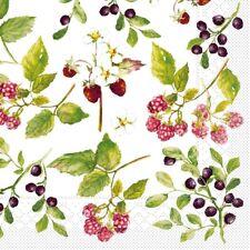 Serviette Else aus Tissue 33x33cm, 20 Stück - Brombeeren Heidelbeeren Erdbeeren