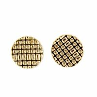 Charming Charlie Women's Textured Small Flat Button Stud Earrings - Rose Gold