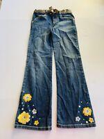 Gymboree Girl's Yellow Floral Blue Denim Jeans Size 10