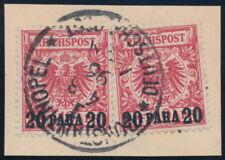 DP TÜRKEI, MiNr. 7 ca, zwei Stück auf Briefstück, gepr. R. Steuer, Mi. 800,-