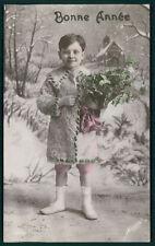 Edwardian Original old 1910s photo postcard child furr coat boy winter snow
