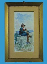 Eduardo Vitali Italien 19. Jhdt. 'Wandermusiker mit Flöte' sign. Aquarell ~ 1900