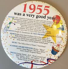 1955 6 INCH was a good year birthday pin or includes foldout stand for display