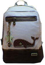 Chala Backpack Style Purse Striped Whale Purse w detachable Key Chain Fob Charm