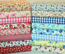 FLORAL POLY COTTON FABRIC BUNDLE LARGE SQUARE REMNANTS  BLUE PINK RED GINGHA M