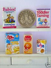 DOLLS HOUSE MINIATURE 3 BABY FOODS & 2 BOOKS - C&G Farley's SMA Handmade 1/12th