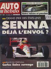 AUTO HEBDO n°769 du 13 Mars 1991 GP USA RALLYE PORTUGAL SALON GENEVE