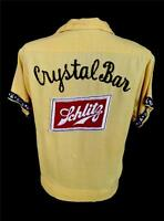 VINTAGE 1950'S MUSTARD RAYON GABARDINE  EMBROIDERED BOWLING  BLOUSE  SIZE 34