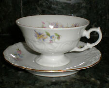 """Mid-Century Walbrzych Porcelain Cup/Saucer """"Rose Crest Pattern"""" Made in Poland"""