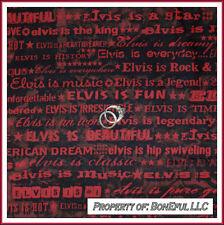 BonEful Fabric FQ Cotton Quilt Music Elvis Band Star King Rock N Roll Red Stripe