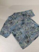 Tommy Bahama Mens Hawaiian Tropical Short Sleeve Size L Large 100% Silk Blue EUC