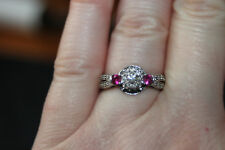 Sterling Silver 925 .30 Carat Natural Diamond and Synthetic Ruby Ring Size 7.5