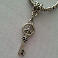 Peace Sign Key Heart Dangle Bead for Silver European Bracelets Or Clip On Charm